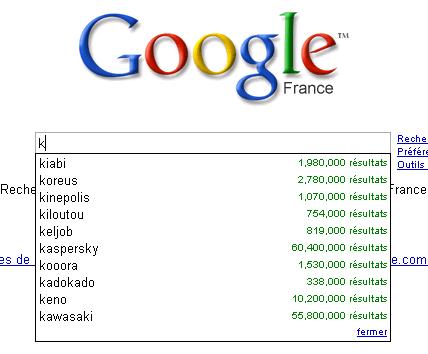 Google Suggest avec la lettre K