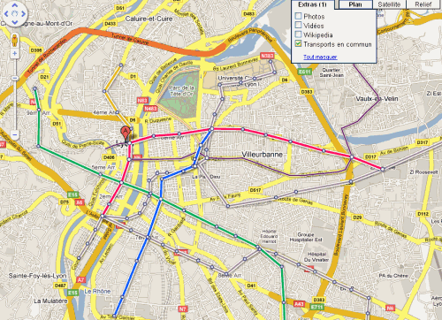 m tro et tramway dans google maps le blog de koreus. Black Bedroom Furniture Sets. Home Design Ideas